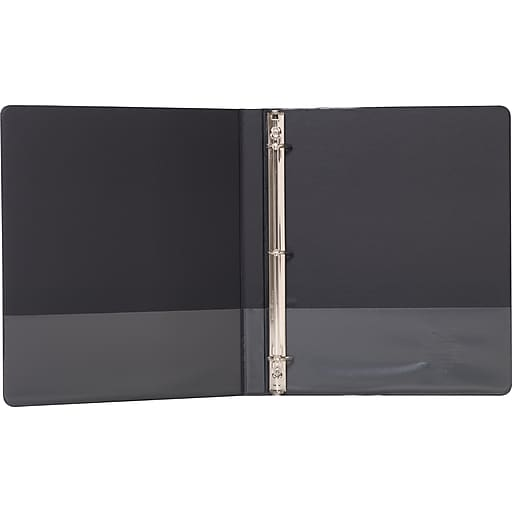 1 2 staples standard view binder with d rings black staples
