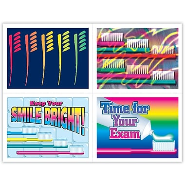 MAP Brand Dental Assorted Laser Postcards Bright Brushes