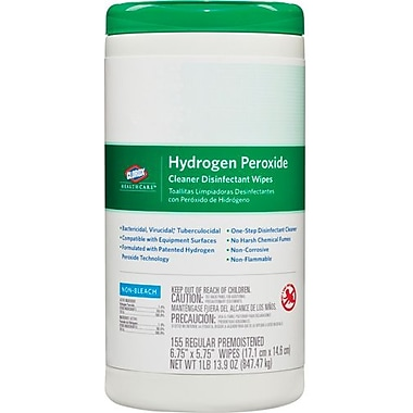 Clorox Healthcare® Hydrogen Peroxide Cleaner Disinfectant Wipes, 155 Wipes/Canister (For Healthcare Facilities Only)