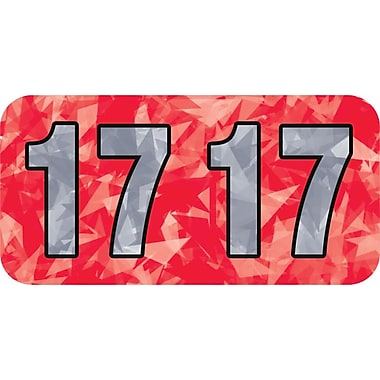 Medical Arts Press® Holographic End-Tab Year Labels; 2017, Red
