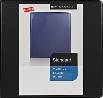 Staples Standard 3-Inch Round 3-Ring View Binder, Black (26356)