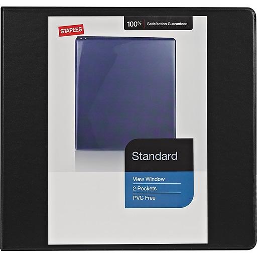 4 staples standard view binder with d rings black staples
