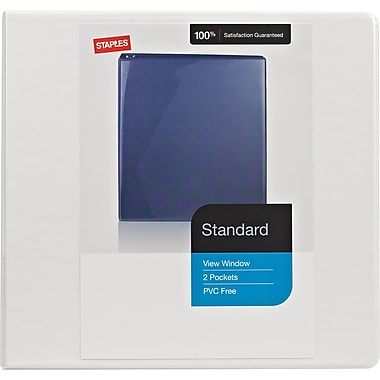 Staples Standard .5-inch Round 3-Ring View Binder, White (26329)