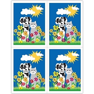 MAP Brand Graphic Image Laser Postcards Dog and Cat in Daisies