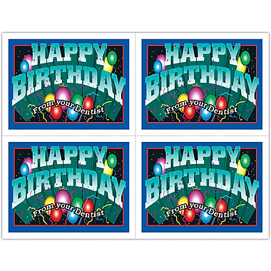 MAP Brand Graphic Image Laser Postcards Happy Birthday, Balloons