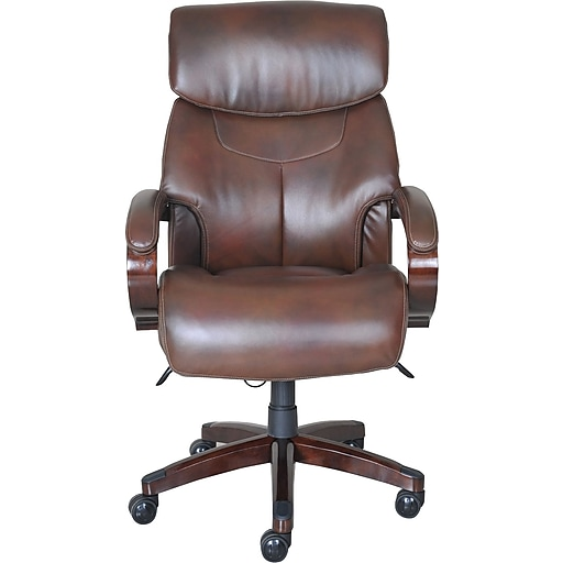 La-Z-Boy Bradley Leather Executive Office Chair, Fixed Arms, Brown ...