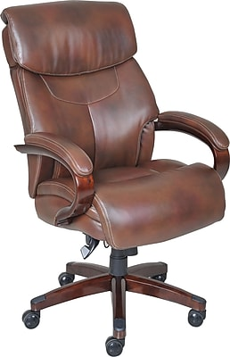 La-Z-Boy Bradley Bonded Leather Executive Chair, Fixed Arms, Roast Chestnut, Seat Dimensions: 21.75 - 23.75H x 22