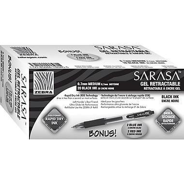 Zebra® Sarasa® Retractable Gel-Ink Pens, Medium Point, Black, 20/Pack + Bonus 2 Blue and 2 Red