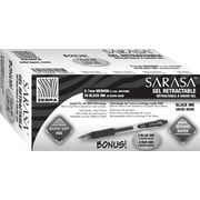 Zebra® Sarasa® Retractable Gel-Ink Pens, Medium Point, Black, 20/Pack + Bonus 2 Blue and 2 Red