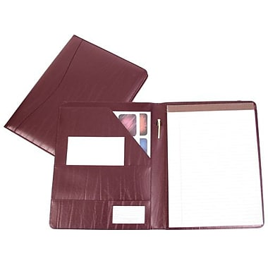 Royce Leather - Porte-document, bourgogne, estampage or, nom complet