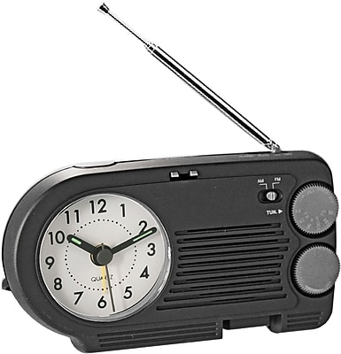 Natico Desk/Travel AM/FM Analog Clock Radio With Alarm, Black