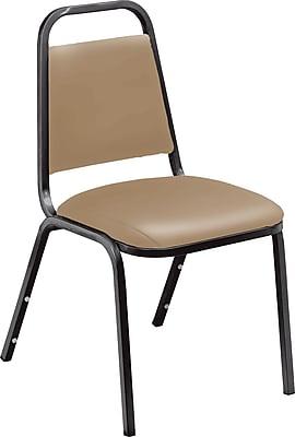 National Public Seating 9101-B-4PK Vinyl Stack Chair, Black/Beige