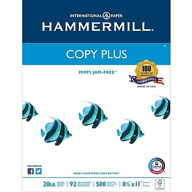 "Hammermill® Copy Plus FSC-Certified Paper, 20 lb., 92 Bright, 8.5"" x 11"", 500 Ream"