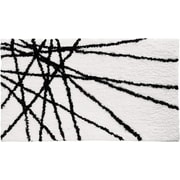 "InterDesign® 34"" x 21"" Abstract Microfiber Polyester Bath Rug, Black/White"