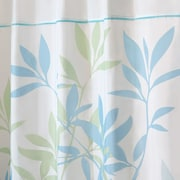 InterDesign® Leaves Fabric Polyester Stall Size Shower Curtain, Soft Blue/Green/White