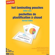 Staples 5 mil Thermal Laminating Pouches, Letter Size, 100 pack