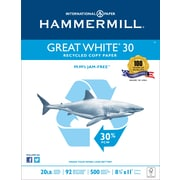 """Hammermill® Great White® 30 Copy FSC-Certified Paper, 20 lb., 92 Bright, 30% Recycled, 8.5"""" x 11"""", Ream"""
