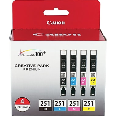 Canon CLI-251 Black & C/M/Y Color Ink Cartridges (6513B004), Combo 4/Pack