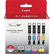 Canon CLI-251 Black/Cyan/Magenta/Yellow Standard Yield Ink Cartridge, 4/Pack (6513B004)