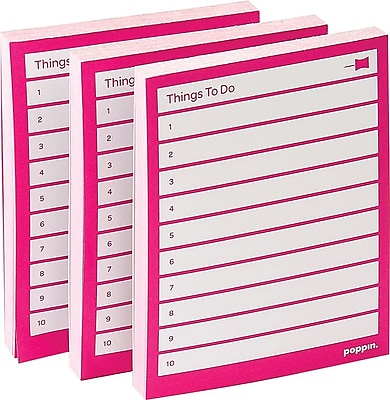 Poppin Task Pads, Pink, Set of 3 (100050)