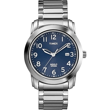 Timex Men's Classic Watch Blue Dial with Stainless Steel Bracelet
