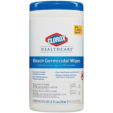 Clorox Germicidal Cloth Wipe, White, 6 3/4