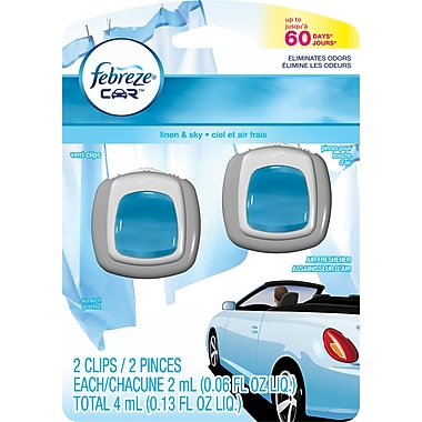 Febreze® Car Vent Clips Air Fresheners, Linen and Sky, 2/Pack