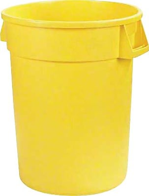 Carlisle Bronco 20 gal. Polyethylene Trash Can without Lid, Yellow, 6/Pack