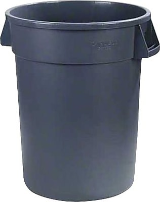 Carlisle Bronco 20 gal. Polyethylene Trash Can without Lid, Gray, 6/Pack