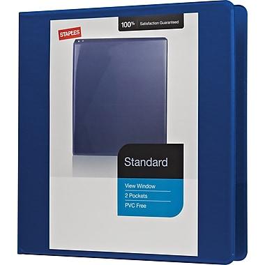Staples® – Reliure de présentation standard à anneaux en D, 1 1/2 po, bleu