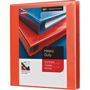 "1"" Staples® Heavy-Duty View Binder with D-Rings, Orange"