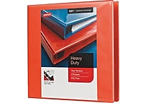 1-1/2' Staples® Heavy-Duty View Binder with D-Rings, Orange