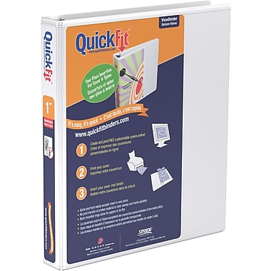 Stride® QuickFit™ View Binder with Round Rings, White, 200-Sheet Capacity, 1