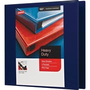 "3"" Staples® Heavy-Duty View Binder with D-Rings, Navy"