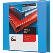 Staples Heavy-Duty 2-Inch D 3-Ring View Binder, Light Blue (26350)