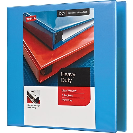 staples heavy duty 2 inch d 3 ring view binder light blue 26350