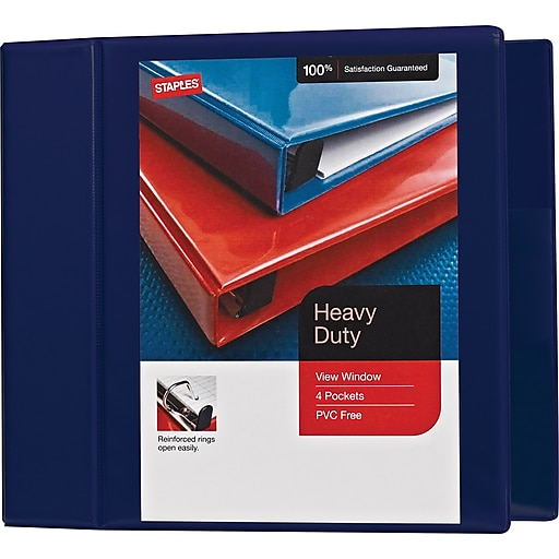 5 staples heavy duty view binder with d rings navy staples