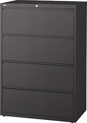 Staples 4-Drawer Lateral File Cabinet, Locking, Letter/Legal, Charcoal, 36