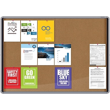 Enclosed board-internal, sliding doors, cork, 39x56, 18 sheet