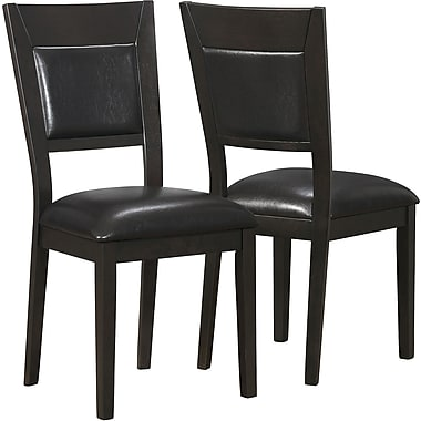 Monarch Leather-Look Side Chair, Cappuccino/Brown, 2/Pack