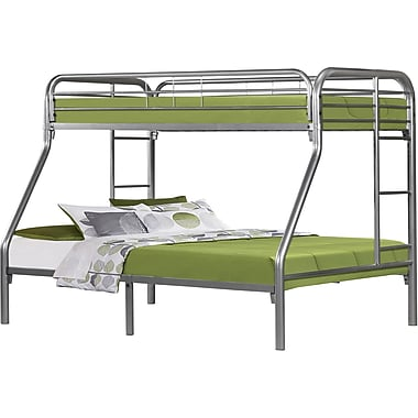 Monarch Metal Twin/Full Bunk Bed, Silver