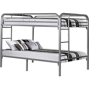Monarch Metal Full/Full Bunk Bed, Silver Metal