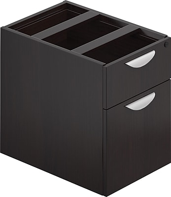 "Offices To Go® Superior Laminate Box/File Pedestal, American Espresso, 19""H x 16""W x 22""D"