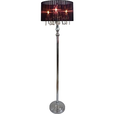 Elegant Designs Sheer Black Shade Floor Incandescent Lamp With Hanging Crystals, Chrome Finish