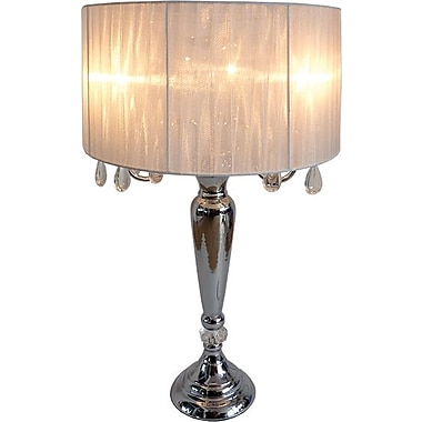 Elegant Designs Trendy Sheer White Shade Table Lamp With Hanging Crystals, Chrome Finish
