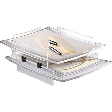 CEP Acrylight Letter Tray Clear and 4 Black Risers, Clear, 2/Pack