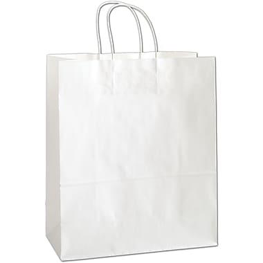 Sacs de magasinage Escort en papier, 13 x 6 x 15 1/2 (po), blanc, 250/paquet