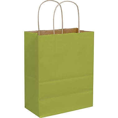 Sacs de magasinage en kraft coloré, 8 1/4 x 4 1/4 x 10 3/4 po, 250/paquet