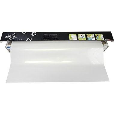 """Wizard Wall 28"""" System, Dry Erase Static Cling Film, White, 27.5"""" x 40 ft"""