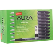 Staples® Aura™ Gel Pens, Medium Point, 0.7 mm, Black Ink/Clear Barrel, 36/Pk